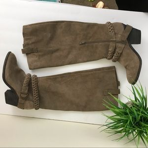 Sole Society Tan Suede Knee High Heeled Boots